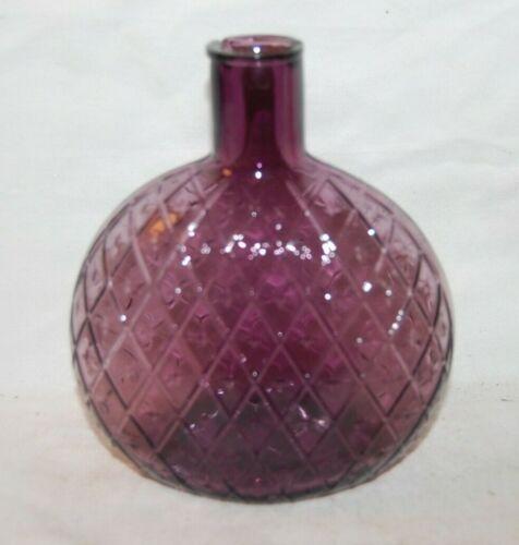 Vintage Hand Blown Amethyst Diamond  Quilted Pattern Flask