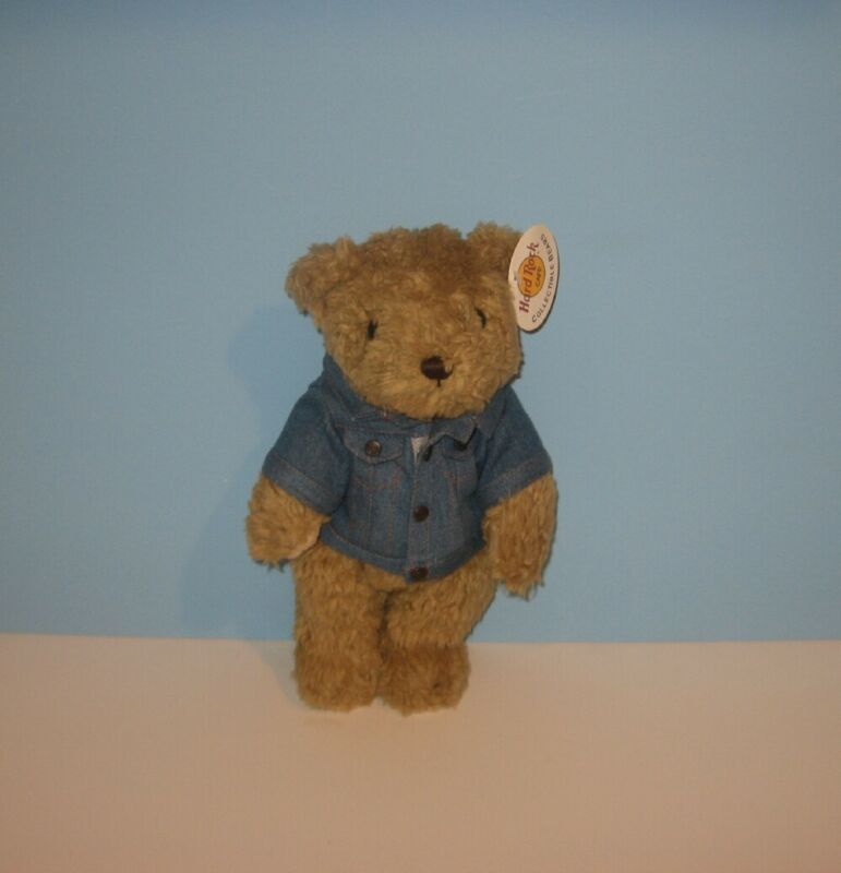"New 12"" Hard Rock Cafe Orlando, Fl Jean Jacket Genuine Plush Stuffed Teddy Bear"