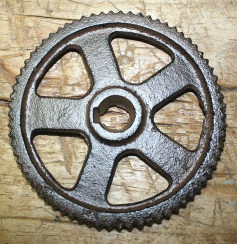 "Cast Iron Industrial GEAR SPROCKET Lamp Base STEAMPUNK 5 3/4"" Pulley Wheel"