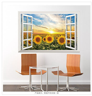 Home Decoration - 3D Window Sunflowers Room Home Decor Removable Wall Sticker Decals Decoration*