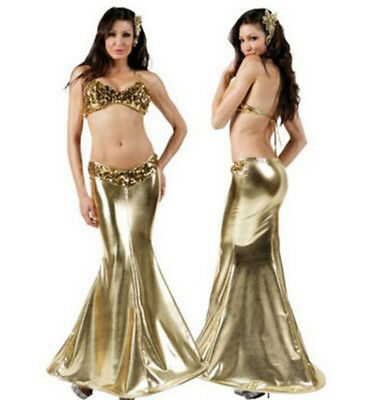 Sexy Gelbgolden Meerjungfrau Kostüm für Damen Erwachsene Halloween Party Cosplay