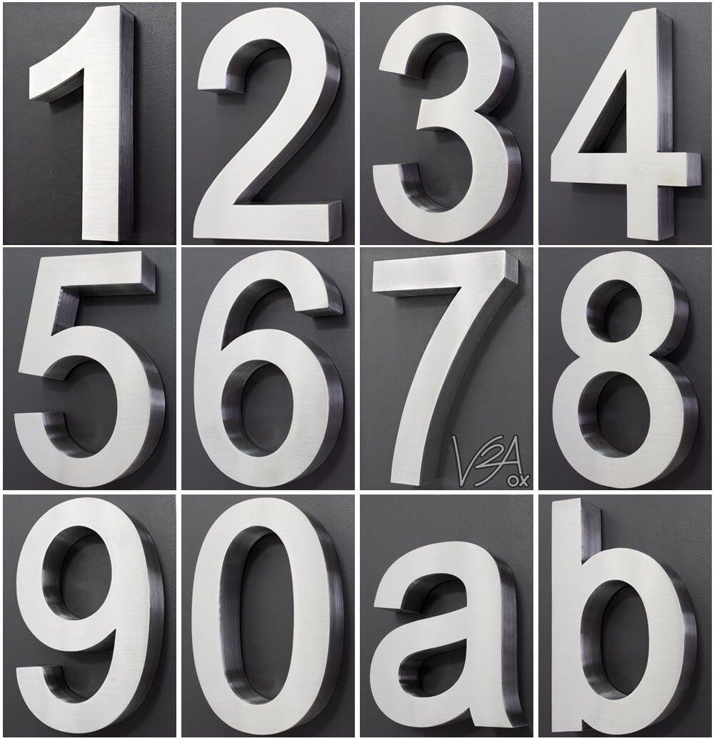 hausnummer edelstahl v2a design arial alle zahlen in 2d und 3d h he 20cm v2aox eur 11 99. Black Bedroom Furniture Sets. Home Design Ideas