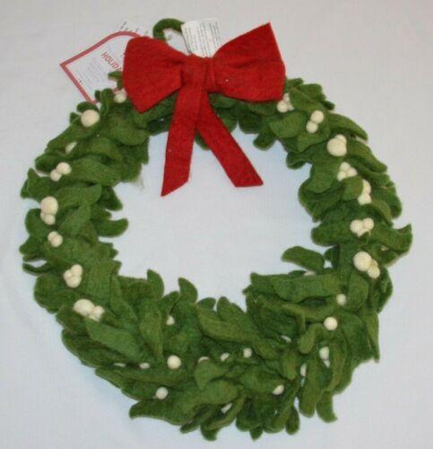 "Pottery Barn Kids Felted Wool Mistletoe Christmas Wreath Small 15"" NEW! Holiday"
