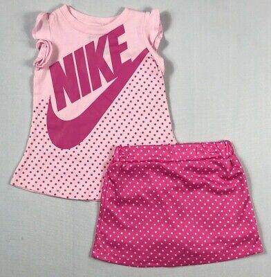 Infant Baby Girl's Nike Shirt and Skort 2 Piece Set Outfit Size 12 Months