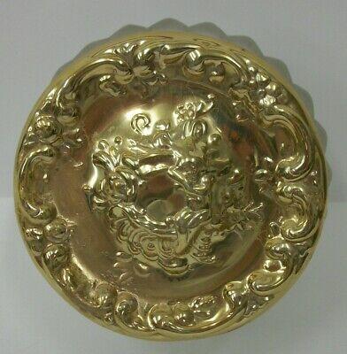 Vintage Frosted Glass Dresser or Powder Jar with Gold Tone Fancy Cherub Lid