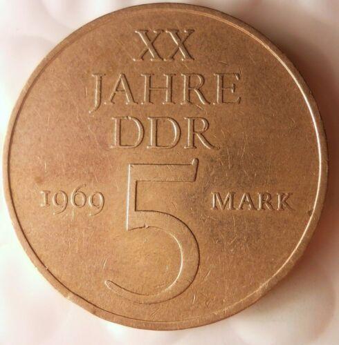 1969 EAST GERMANY 5 MARKS - Rare 25% Nickel Version - 12,471 Minted - DDR BIN #2