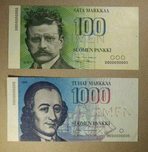 1986 Finland 2 pc Specimen Lot 100 & 1000 Markkaa *RARE*