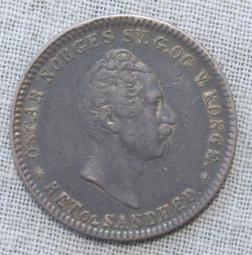 1856 (1856/5) Norway Silver 12 Skilling Coin XF