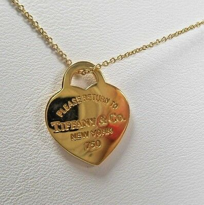 Tiffany & Co. Return to Tiffany 18K Yellow Gold 20mm Medium Heart Necklace (Tiffany And Co Sales)