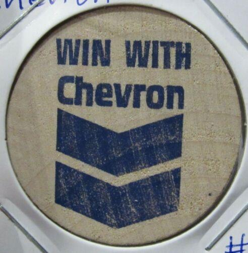 Vintage Win With Chevron Wooden Nickel - Token Gas Fuel Oil #1