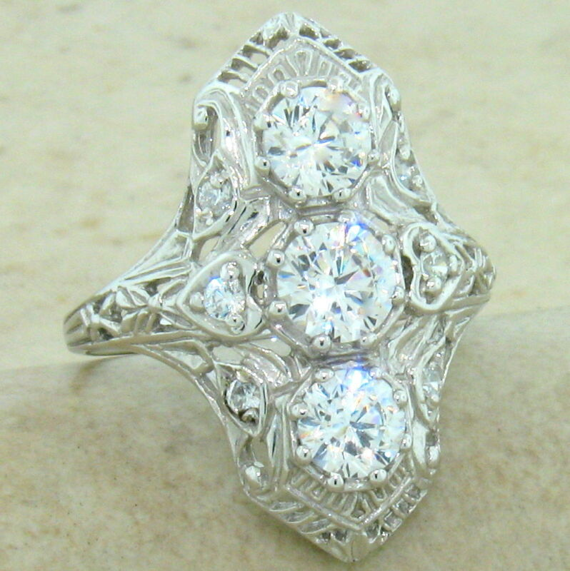 ART DECO CLASSIC ANTIQUE STYLE 925 STERLING SILVER CZ RING SIZE 9,          #847