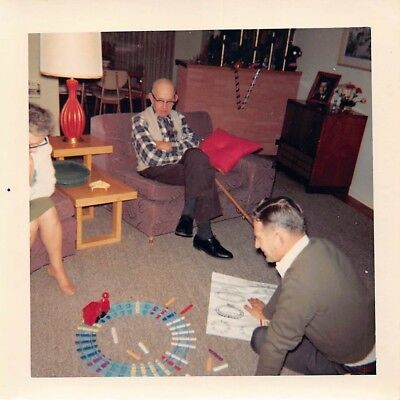 DAD PUTTING TOGETHER TOY TRAIN TRACK SET CHRISTMAS MAN XYLOPHONE VTG 1960s PHOTO