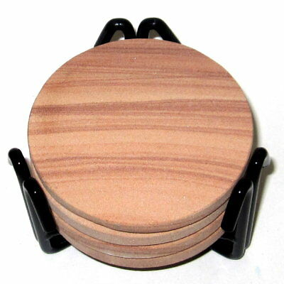 Set of 4 Natural Thirstystone Picture Sandstone Round Coasters w/ Metal Holder