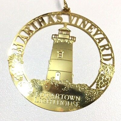 Martha's Vineyard Edgartown Lighthouse Gold Plated Christmas Tree Ornament New ()