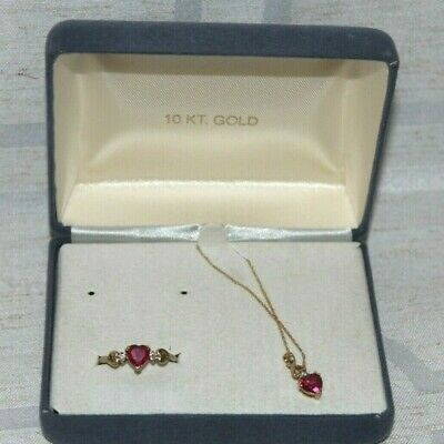 10k Yellow Gold Lab Created Ruby Heart Necklace and Ring  Gold Ruby Heart Necklace