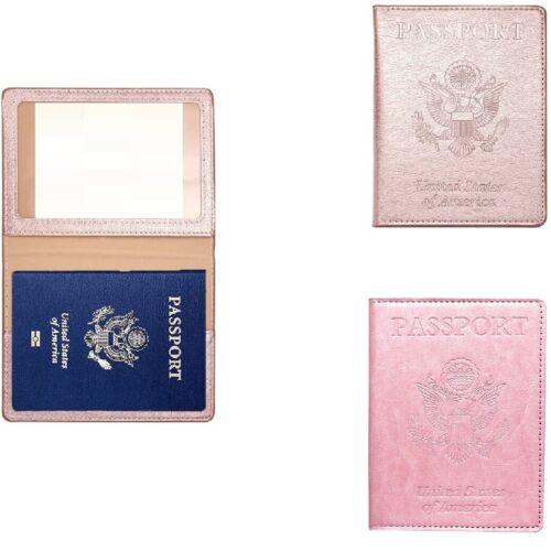 PU Passport Vaccine Card Passport Holder Travel Wallet Blocking Case Cover