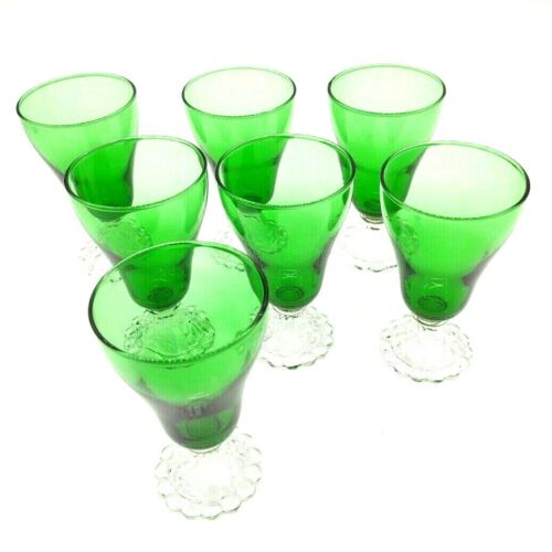 """Vintage Anchor Hocking Green Burple Lot of 7 Juice Glasses 5"""" Clear Swirl Foot"""