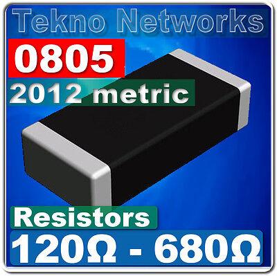 0805 2012 Metric Smd Smt Resistors -100pcs Range 120 - 680 Ohm