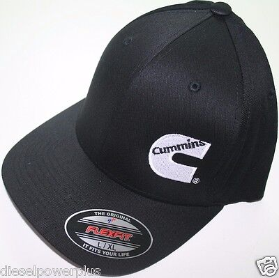 Cummins hat ball cap fitted flex fit  flexfit stretch cummings ram black lg/xl