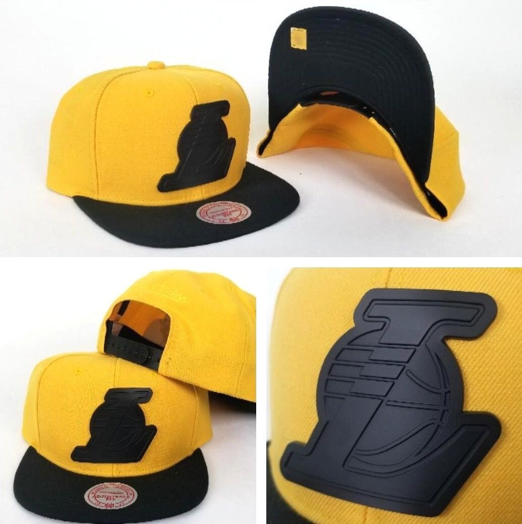 3f11debbca0 Details about Mitchell   Ness Yellow   Black Metal Badge Logo Los Angeles  Lakers snapback Hat