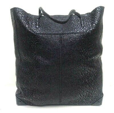 ALEXANDER WANG PRISMA EMBOSSED STINGRAY LEATHER LARGE TOTE HANDBAG WITH POUCH