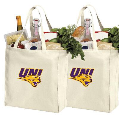 University of Northern Iowa Shopping Bags UNI Grocery Bag 2 PC SET COTTON CANVAS Northern Iowa Set