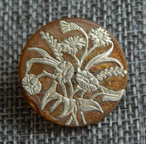 """Antique Vtg Silver in Horn Button Morning Glorys ~Aprx:1""""~#1139-E"""