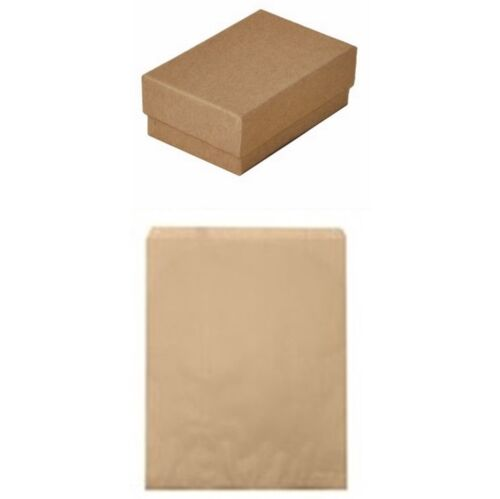 100 Kraft Brown Cotton Fill Jewelry Gift Boxes 3 1/4 x 2 1/4 x 1 & 100 5x7 Bags