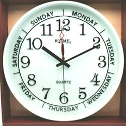 13.8 Inch Round Wall Clock, Silent Non Ticking Quartz Battery  Easy to Read