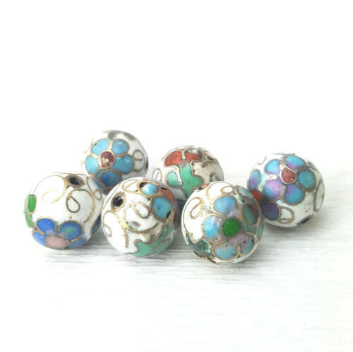Vintage White with Mixed Color Flower Cloisonne Chinese Enamel 12mm 6Beads