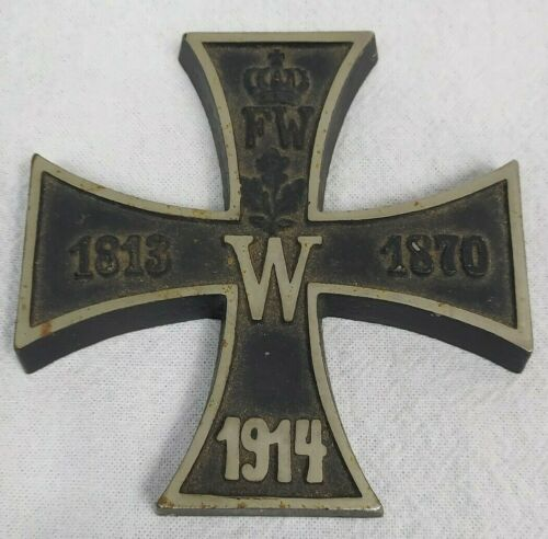 Vintage WWI German Iron Cross 1813 / 1870 / 1914 Paperweight (Crown FW, W) Excel