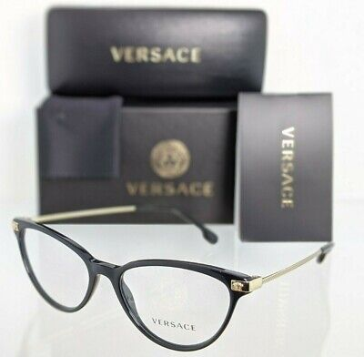 Brand New Authentic Versace Eyeglasses MOD. 3261 GB1 54mm Black & Gold Frame