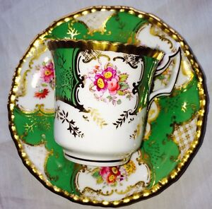 Antique Coalport Bats Wing Coffee Cup And Saucer