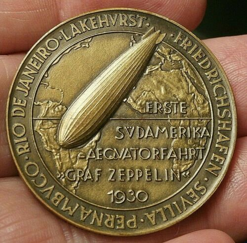 1930 GRAF ZEPPELIN FIRST SOUTH AMERICA / EQUATOR FLIGHT MEDAL  S299A