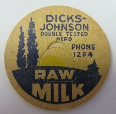 "Vintage Milk Bottle Cap 1 & 5/8"" DICKS-JOHNSON Dairy Raw Milk Advertising"