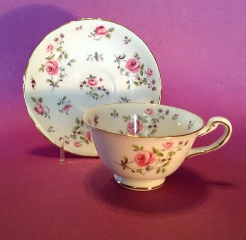 Royal Chelsea Teacup And Saucer  - Pink Roses And Purple Violets - England