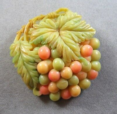 VINTAGE PASTEL COLOR CELLULOID BERRIES  FUR DRESS CLIP