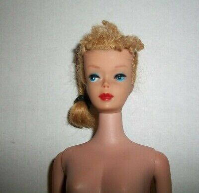 VINTAGE 1960S BLONDE POODLE BANGS PONYTAIL BARBIE WITH NIPPLES BODY DOLL DRESSED
