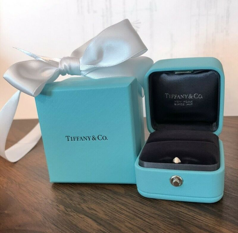 Tiffany & Co Presentation Blue Leather Engagement Ring Box outer Box & Ribbon!