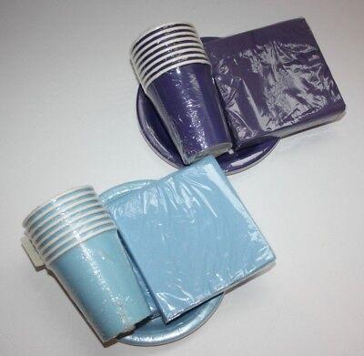 Baby Shower Plates Cups Napkins (BLUE / PURPLE Party Plates Napkins Cups Baby Shower Birthday Party)