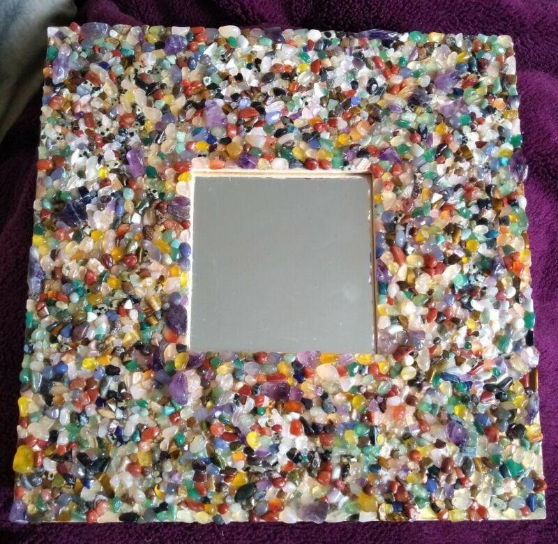 HANDMADE+GEM+stone+ENCRUSTED+WOODEN+FRAME+MIRROR+-+frame+25.5x25.5cm+unique+gift