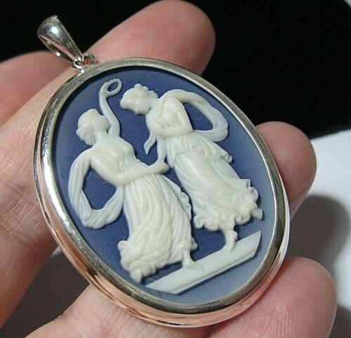 VINTAGE Style STERLING SILVER Nouveau Two Graces CAMEO Necklace PENDANT (Large)