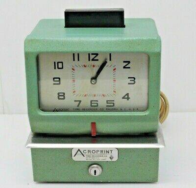 Acroprint Time Recorder Clock Manual Punch Card 125nr4 Without Key