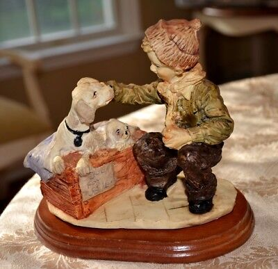 """Dog for Sale"" Boys Best Friend! figurine with wood base ~ Boy, Dog and Puppies"