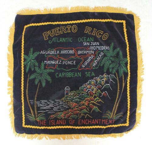 Vintage Puerto Rico Fringed Pillow Case Cover Painting Velvet Souvenir