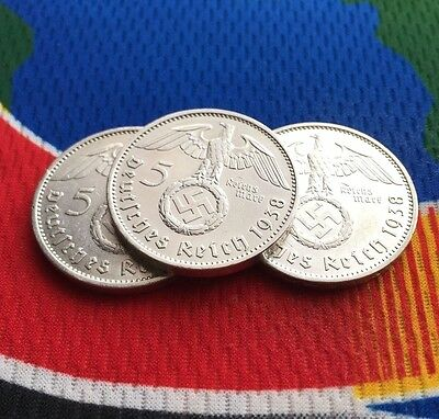 1938 A WW2  5 Mark German Silver Coin (1) Third Reich Swastika Reichsmark