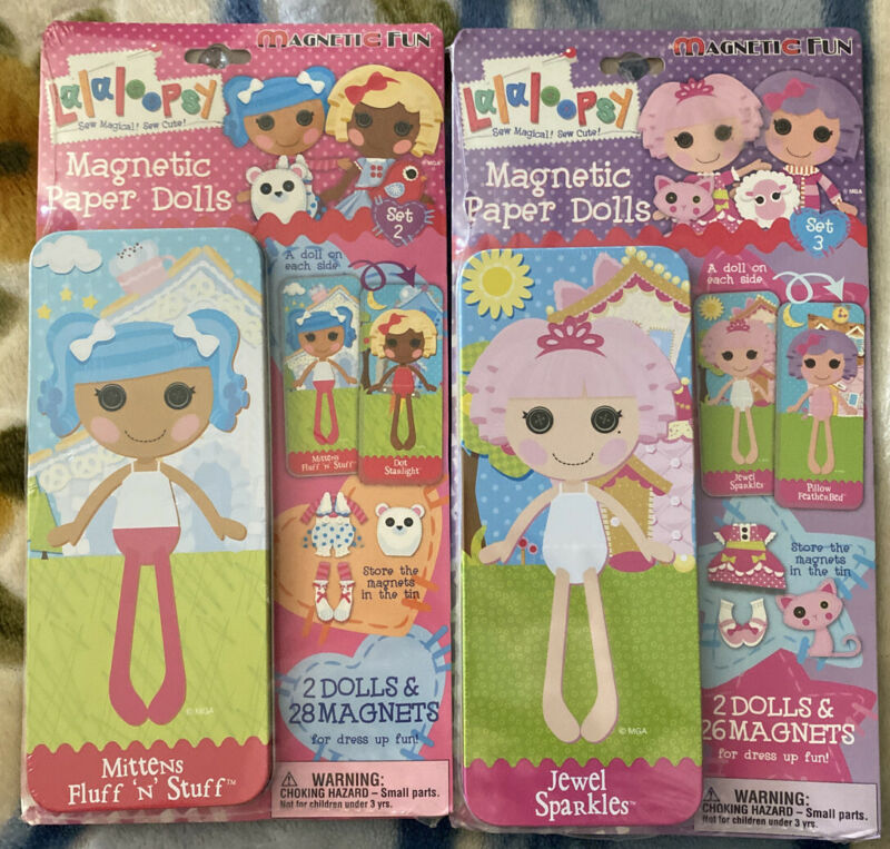 Lalaloopsy Magnetic Paper Dolls Jewel Sparkles & Mittens Fluff 'N' Stuff Set 2&3