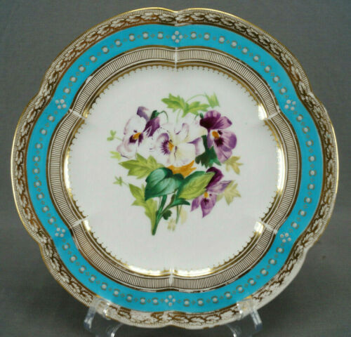 Coalport 6/886 Hand Painted Flowers White Enamel Jeweled Turquoise Plate C