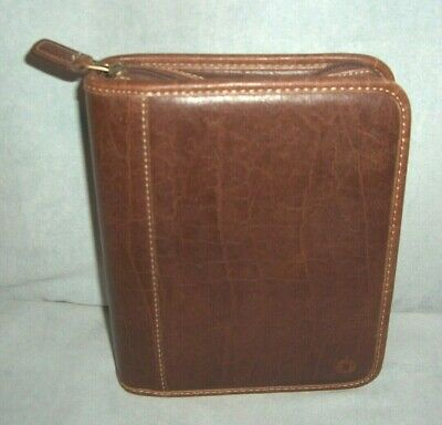 Franklin Covey Binder Organizer Planner Full Zip Distressed Brown Pvc