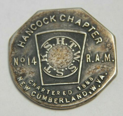 1888 New Cumberland, West Virginia Hancock Chapter No. 14 Silver Plated Shekel